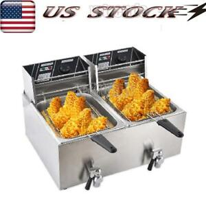 Electric Countertop Deep Fryer Dual Tank Commercial Restaurant 16 Liter Us Stock