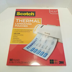 Scotch Letter Size Thermal Laminating Pouches 3 Mil 8 5 x11 100 Per Pack