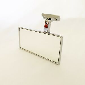 Hot Rod Interior Rear View Mirror Chromed Aluminum Hinged Mounting Point
