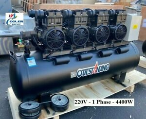 New 6 Hp Ultra Quite Silent Air Compressor Oil Free Electric 220v 1ph 4400w