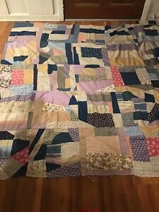 Vintage 1920s Feed Bag Sack Patchwork Handmade Quilt Top 70 Square