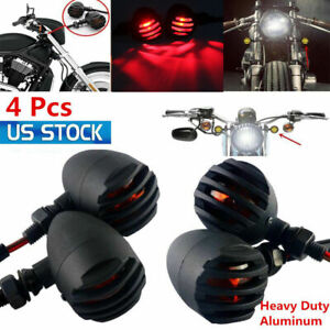 4x Aluminum Grill Motorcycle Brake Lights Bullet Tail Light With Turn Signal Red