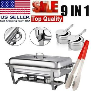 9 In 1 Catering Stainless Steel Chafer Chafing Dish Sets 1 2 Size Buffet Us Food
