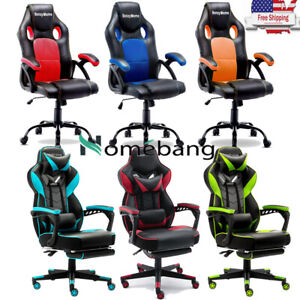 Gaming Chair Racing Office Desk Chair W Footrest Swivel Pu Leather Recliner Us