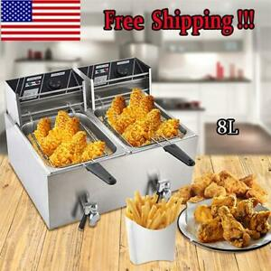2x 8l Stainsteel Electric Deep Fryer Dual Tank Restaurant Double Cylinder Home