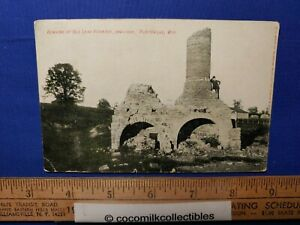 Postcard 1907 Remains Of Old Lead Furnace Plattevillle Wisconsin Man On Furnace $5.99