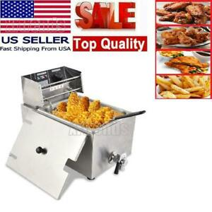 8l Commercial Electric Countertop Deep Fryer Basket With Valve Us Restaurant