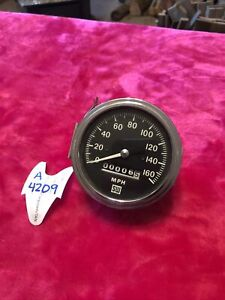 Vintage 160 Mph Speedometer Gauge Scta Hot Rod Dash Panel Trog Stewart Warner