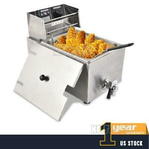 8l Commercial Electric Countertop Deep Fryer Basket Restaurant With Valve Home