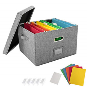 Jsungo File Organizer Box Office Document Storage With 5 Hanging Filing Folders