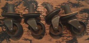 4 Vintage Swivel All Steel Casters For Furniture Legs Screw Into Wood W Gaskets