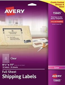 Avery 15665 Full Sheet Shipping Labels Frosted Clear 8 5 X 11