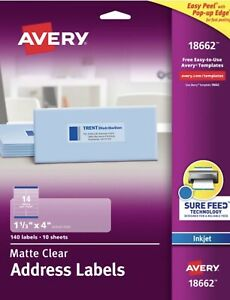 Avery 18662 Clear Easy Peel Mailing Labels Inkjet 1 1 3 X 4