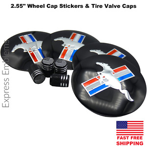 2 55 65mm Ford Mustang Wheel Center Hub Cap Sticker Decal And Tire Valve Caps
