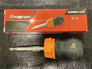 Snap On Tools Stubby Orange Black Soft Grip Ratcheting Screwdriver Sgdmrc11ao