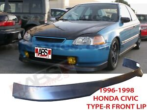 Type R Style Front Lip For 1996 1998 Honda Civic Unpainted Polyproplyene Black