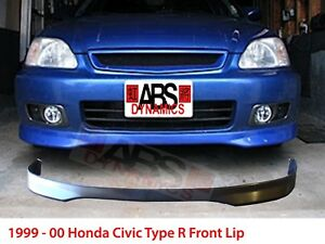 Type R Style Front Lip For 1999 2000 Honda Civic Unpainted Polyproplyene Black