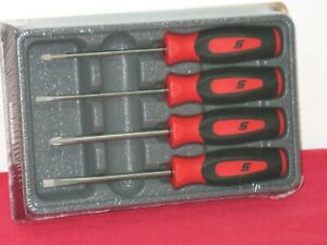 Snap On Tools 4 Piece Red Soft Grip Mini Screwdriver Set In Storage Tray