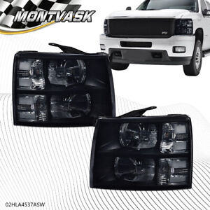 For 2007 2014 Chevy Silverado 1500 2500 3500 Smoke Black Headlight Headlamp