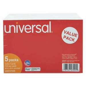 Universal Unruled Index Cards 4 X 6 White 500 pack 087547472255