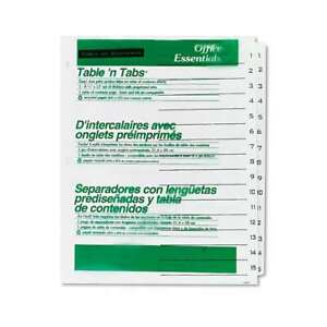 Office Essentials Table n Tabs Dividers 15 tab Letter 072782116743