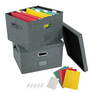 Jsungo 2 Pack File Organizer Box Office Document Storage With Lid School Linen