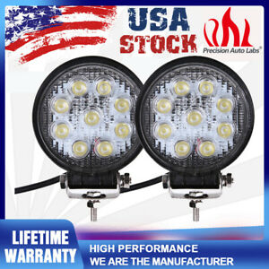 2pack 27w 5 Flood Spot Led Work Lights For Boat Tractor Truck Offroad Fog Suv
