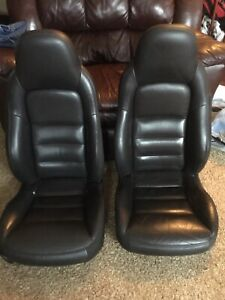 05 11 Corvette C6 Black Leather Power Driver Passenger Bucket Seats Sport