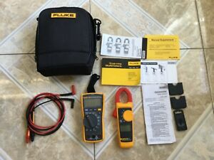 Fluke 117 323 Kit Trms Ac dc Electrician s Dmm clamp Meter Combo Kit