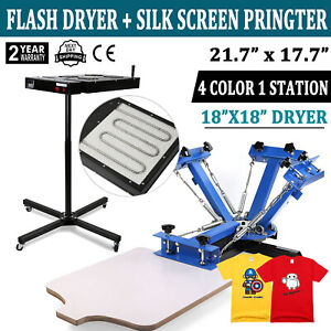 4 Color 1 Station Screen Printing Press Kit Machine Silk Screening Flash Dryer