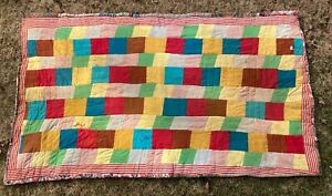 Vintage Patchwork Quilt With Hand Quilting Rainbow Of Colors 50 X 82