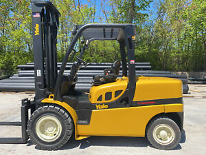 2014 Yale Gdp100 10 000lb Pneumatic Forklift Hi Clear 2 Stage Mast Lift Truck