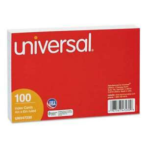 Universal Ruled Index Cards 4 X 6 White 100 pack 087547472309
