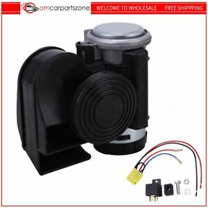 Loud Compact Dual tone Electric Air Horn Motorcycle 12v Black Truck Lorry Yacht