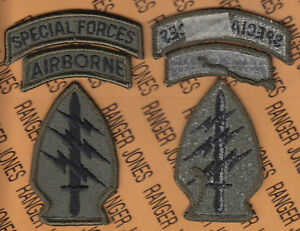 Special Forces Group Airborne SFGA OD Green amp; Black BDU patch m e set $8.00