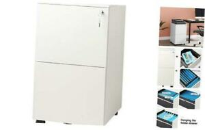 2 drawer Mobile File Cabinet With Lock Commercial Vertical Cabinet In White