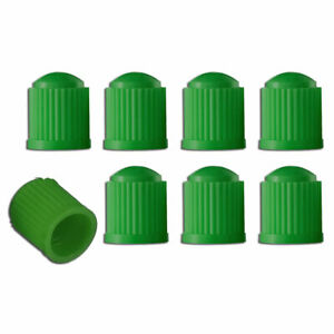 8x Green Plastic Tire Valves Air Dust Cover Stem Caps For Wheel Car Suv Bike