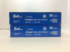 Quill Brand 2 pocket Folders With Fasteners Dark Blue 25 box 2 Boxes 712823