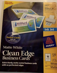Avery 28877 Business Cards 120 Clean Edge Matte White Ink Jet 2 In X 3 1 2 In