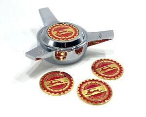 Impala Red On Gold Lowrider Wire Wheel Knock off Metal Chips Emblems Size 2 25