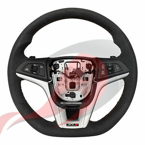 2012 2015 Camaro Gm Zl1 Automatic Suede Steering Wheel Red Stitching 22896548