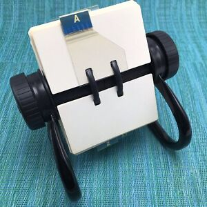 Rolodex Open Rotary Card File Black Frame Blank 2 1 4 X 4 Cards A z Tabs