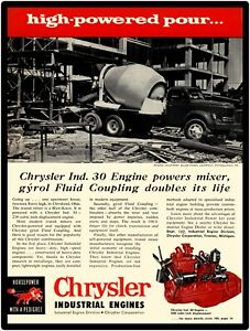 1956 Chrysler Industrial Engines New Metal Sign In Blaw Knox Cement Mixer