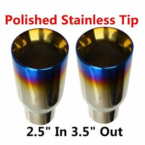 2pcs 2 5 In 3 5 Out Blue Burnt Exhaust Duo Layer Tip Polished Stainless Steel
