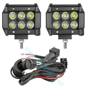 Wiring Harness Kit 4 Cree Led Work Light Bar Flood Pods Driving Fog Offroad 4wd