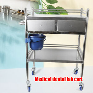 Us Two Layer Hospital Medical Dental Lab Serving Cart Trolley With Drawer Silver