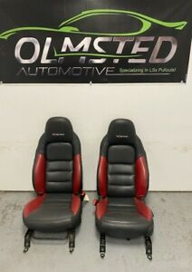 06 11 Corvette C6 Z06 Seats Red Black Leather Driver Passenger Gm Power Heated
