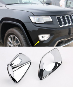 For Jeep Grand Cherokee 2014 2015 Fog Light Cover Lamp Bezel Chrome Molding Trim