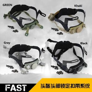 Tactical Airsoft Helmet Head Lock Buckle System Chin Strap Fit Men Outdoor $27.85