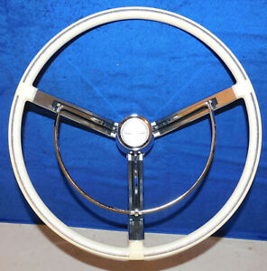1963 Ford Thunderbird Nos Monaco Landau Deluxe White Steering Wheel Horn Ring